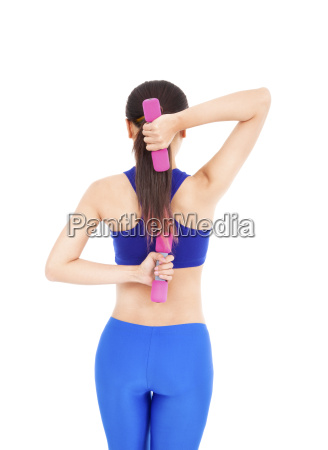healthy asian woman with dumbbells working