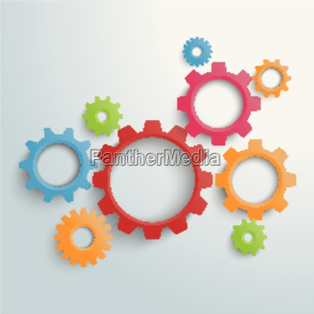 several colored gears piad