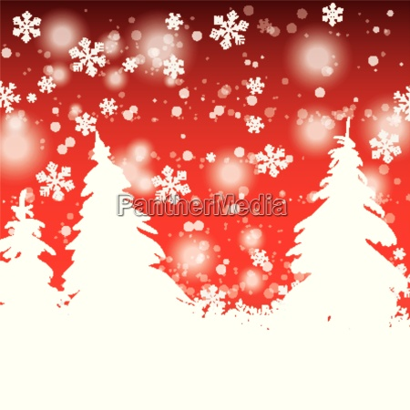 snow trees christmas red background