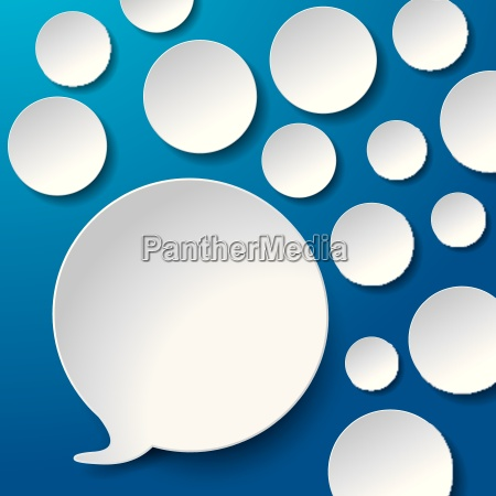 speech bubbles with circles blue background