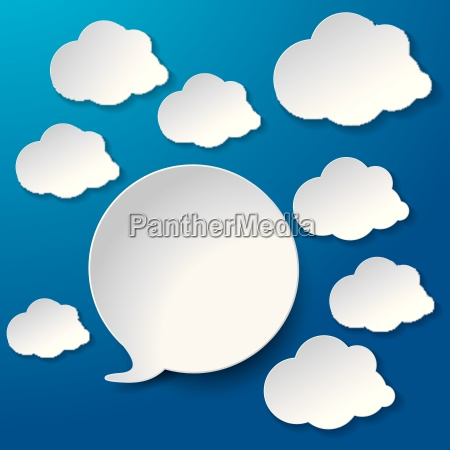 speech bubbles with clouds blue background