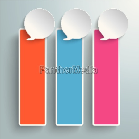 three colored speech bubble oblong banners