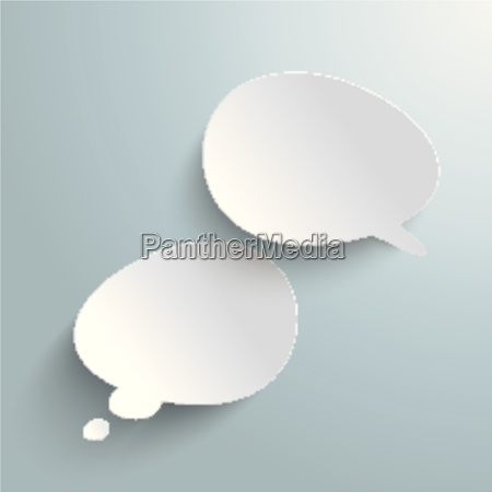 two bevel speech and thought bubbles