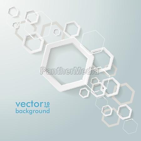 white paper hexagons line