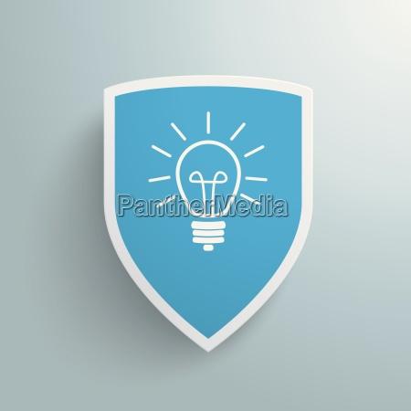 white protection shield blue idea piad