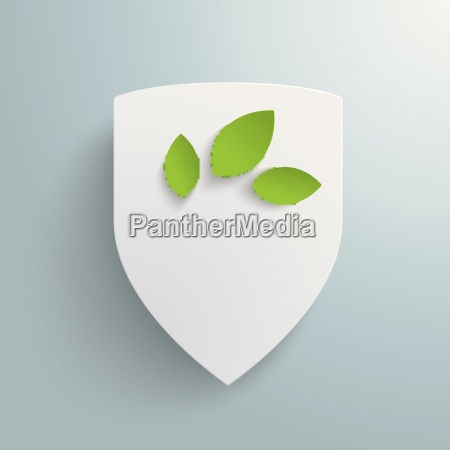 white protection shield green leaves piad