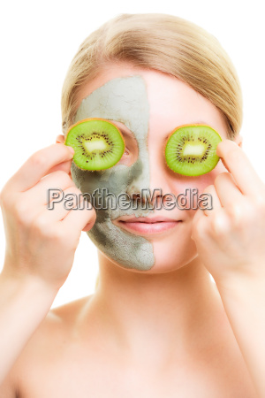 skin care woman in clay mask