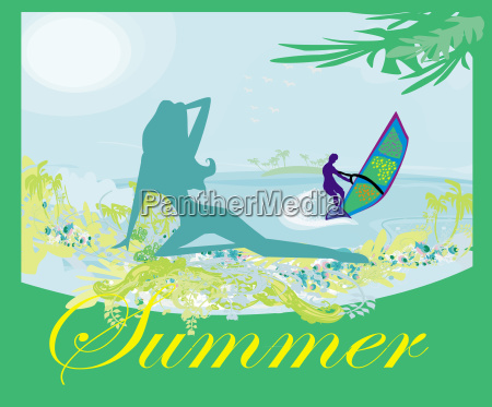 surfer and sexy girl abstract banner