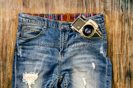 detail of vintage jeans with classic