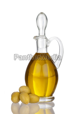 carafe of olive oil and olives