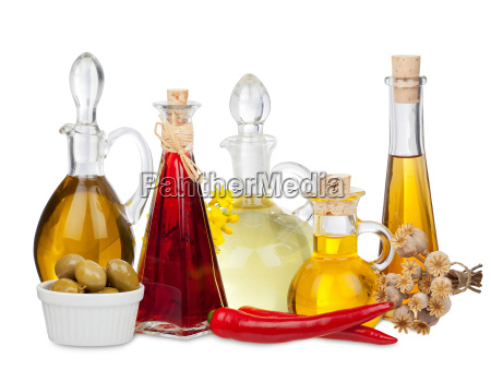 different edible oils into bottles and