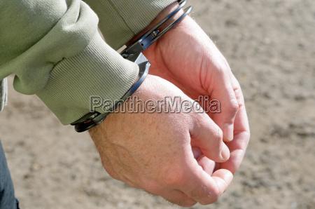 man handcuffed criminal police