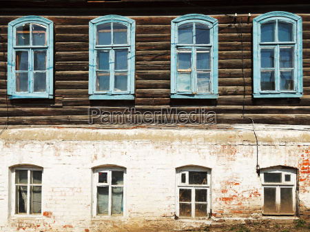 wall of old russian urban wooden