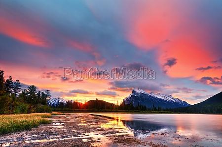 sunset above vermilion lakes banff national