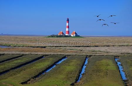 lighthouse westerhever in northern friesland