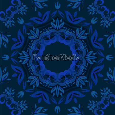 abstract blue floral background with round