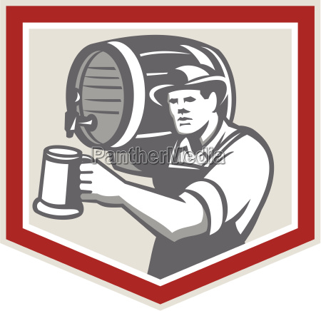 barman lifting barrel pouring beer mug