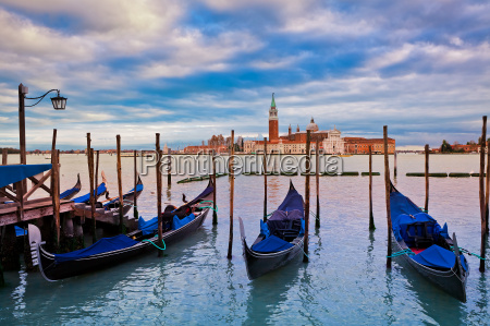 gondolas on grand canal and san