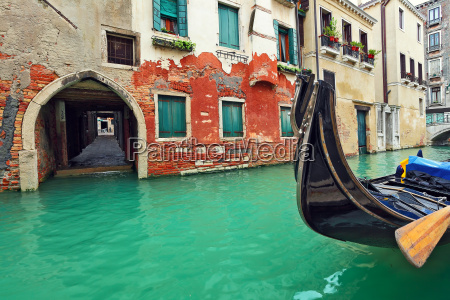 gondola on canal in front of
