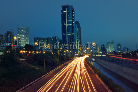 view of ayalon highway light traces