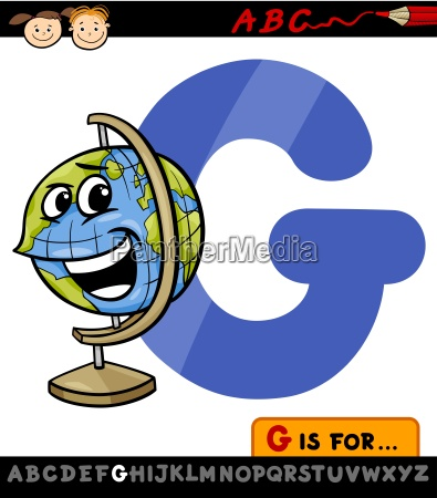 letter g with globe cartoon illustration