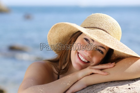 happy woman with white smile looking