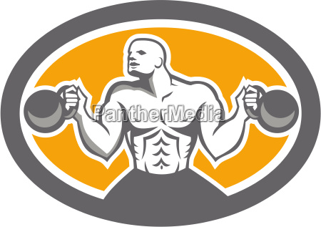 bodybuilder lifting kettlebell front oval retro