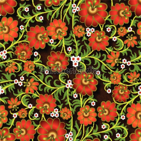 abstract seamless floral ornament with flowers