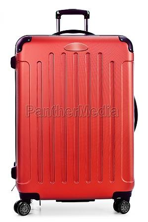 plastic suitcase isolated on white