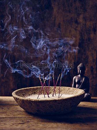 bowl wood incense buddha