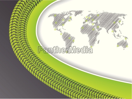 business brochure with world map in