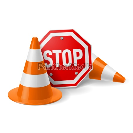 traffic cones and red stop sign