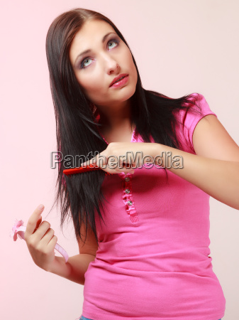 childish woman infantile girl combing her