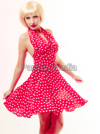 beautiful pinup girl in blond wig