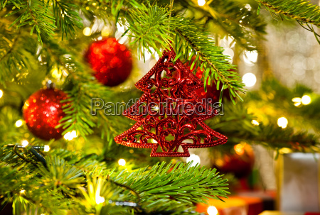 ornament in a real christmas tree