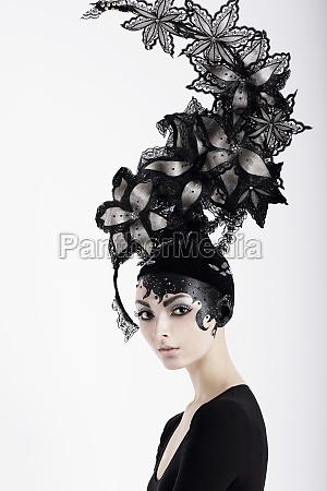 stylish eccentric woman with fanciful make