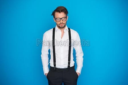 handsome man wearing a blue shirt