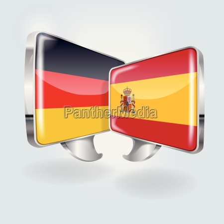speech bubbles in german and spanish