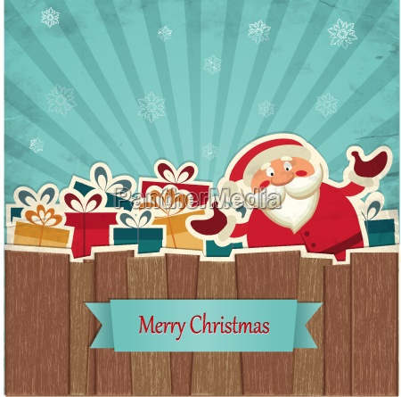 retro christmas background with santa claus