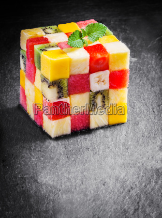 colorful gourmet cube of diced fresh