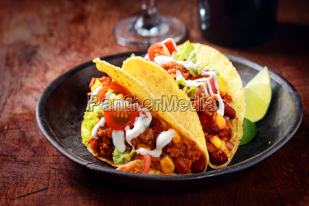 delicious spicy tacos with meat and