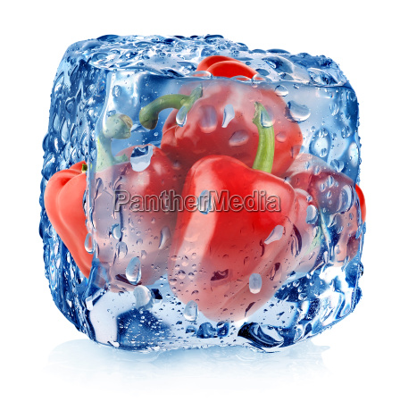 red pepper in ice cube