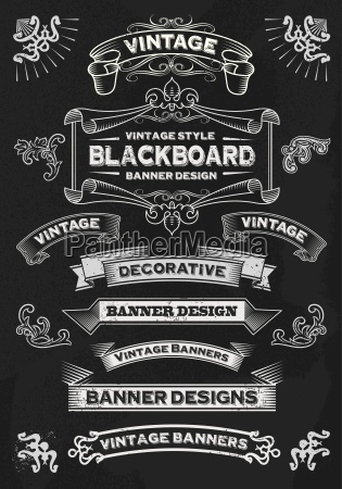 hand drawn blackboard banner and ribbon