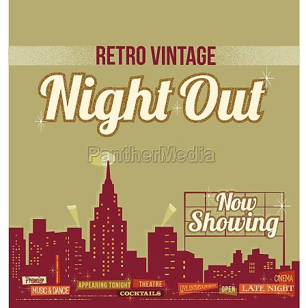 city nightlife vintage retro design