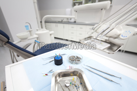 dental instruments and tools in a