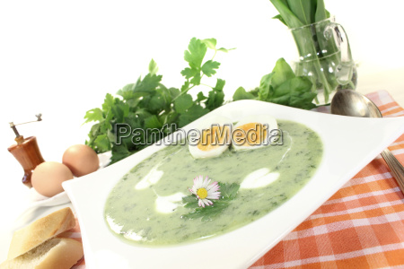 fresh, herbs, soup, with, eggs - 11570661