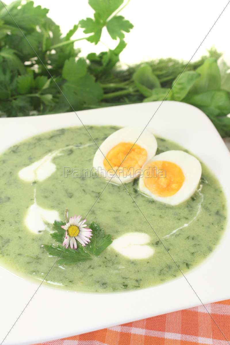 green, herbs, soup, with, eggs, and - 11570525