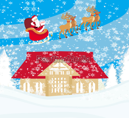 santa claus flying over city