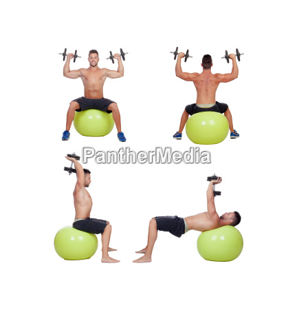 sequence of a man lifting weights