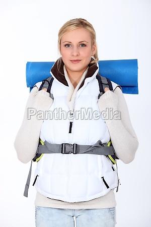 blond backpacker